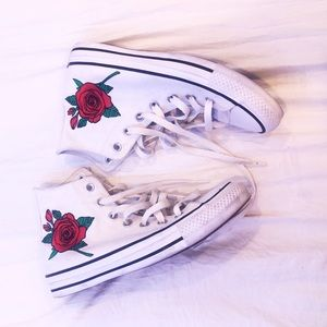 White Rose Embroidered High Top Converse